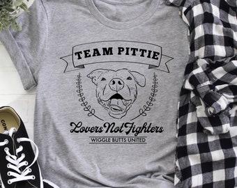 Team Pittie T-Shirt, Pitbull Lover Shirt, Pit Bull Gift, Pitbull T-Shirt, Lovers not Fighters, Cute Pit Bull Tee, Pit Bull Shirt, Pittie Mom