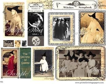 Witches Scrapbook Secrets of Salem Halloween Collage Sheet E192