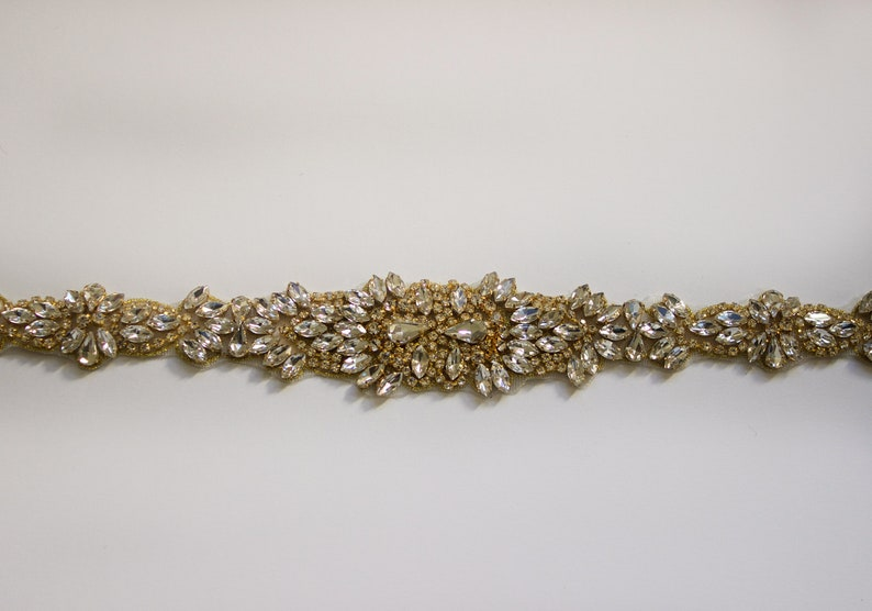 Forniture applique oro gemma trim strass di cristallo etsy