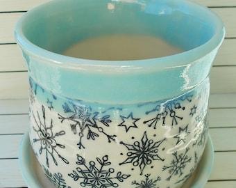 Handmade Pottery Snowflake Planter and Dish