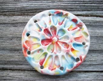 Multi Colored Ceramic Flower Power Pine Needle Basket Base