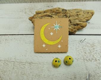 Handmade Moon and Stars Pendant and Bead Set