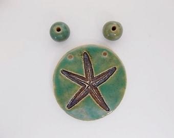 Handmade Ceramic Starfish Pendant and Spacer Beads