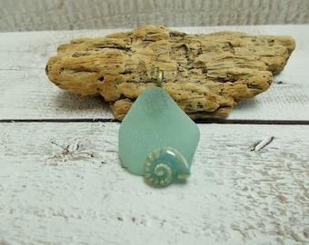 Sea Glass and Pottery Shell Pendant