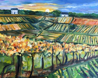 Original Oil Painting, Landscape Oil Painting, Napa Vineyard Oil Painting, Vineyard, Trees, Fall Painting, 16 by 20 inches
