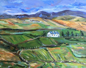 Original Oil Painting, Landscape Oil Painting, Ireland Oil Painting,  Cottage Painting, Ireland Farm Painting, 16 by 20 inches