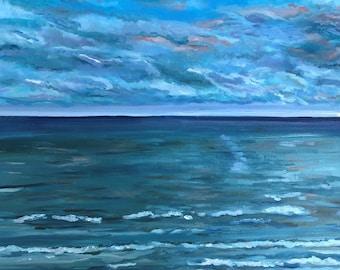 "Original Oil Painting, Beach Painting,  Seascape Oil Painting, 16 by 20"" Painting, Cloudy Beach Painting, Ocean Waves"