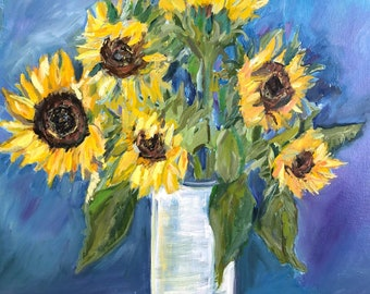 Original Oil Painting, Floral Painting,  Sunflower Painting,  Sunflower Oil Painting, 16 by 20 inches