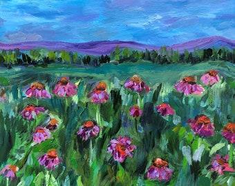 Original Oil Painting, Flower Field Oil Painting, Coneflowers oil painting, 8 inch by 10 inch oil painting