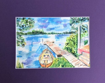 """Original Watercolor Painting, Rowboat by the Dock, 5"""" by 7"""" Watercolor Seascape Painting, Matted Watercolor Painting"""