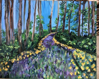 Original Oil Painting, Landscape Oil Painting, Woods Oil Painting, Wildflowers, Trees, 16 by 20 inches,