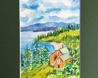 """Original Watercolor Painting,  Orange Cottage By the Sea, Seascape, 5"""" by 7"""" Watercolor Painting, Matted Watercolor Painting"""