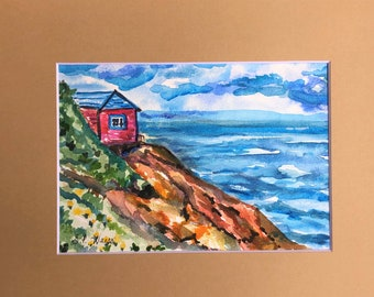 """Original Watercolor Painting, Cottage by the Sea,  5"""" by 7"""" Seascape Painting, Matted Watercolor Painting"""