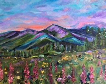 """Original Oil Painting, Mountain Oil Painting, Wildflower Oil Painting, 11"""" by 14""""  Painting, Pink Lupine Flowers"""