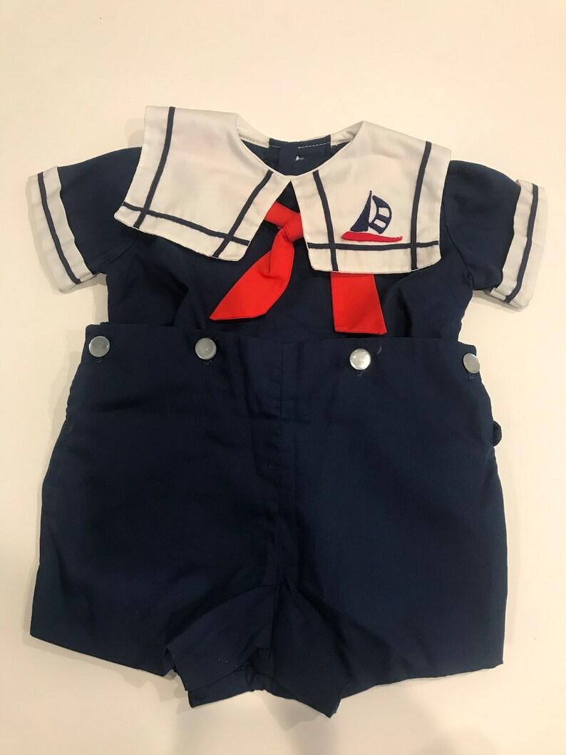 Castro Sailor Suit Sunsuit Navy Blue Nautical Suit 12 Months Vintage C.I