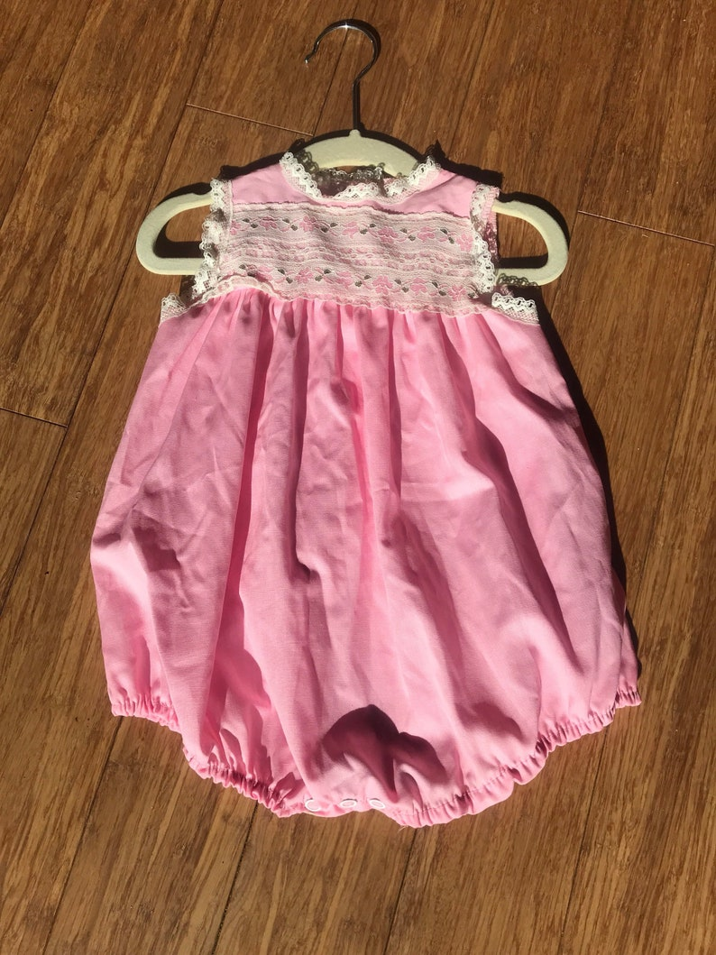 d97fa00153a8 Vintage floral pink lace Toddler Bubble Romper Sunsuit