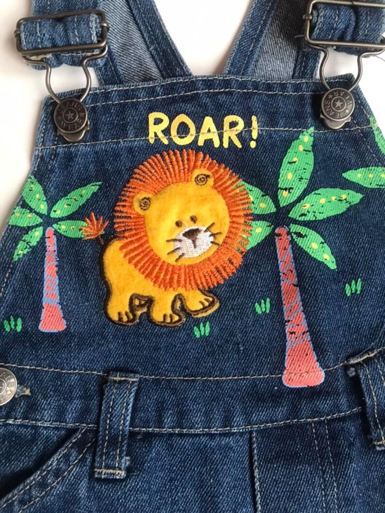 Safari denim shortalls overalls lion 18 months