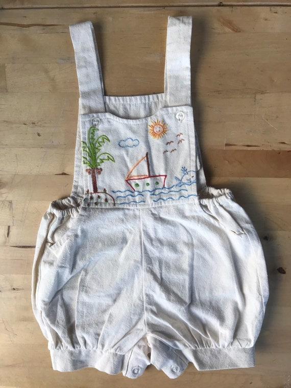 Embroidered Toddler Ethnic Sunsuit, Beach scene ro