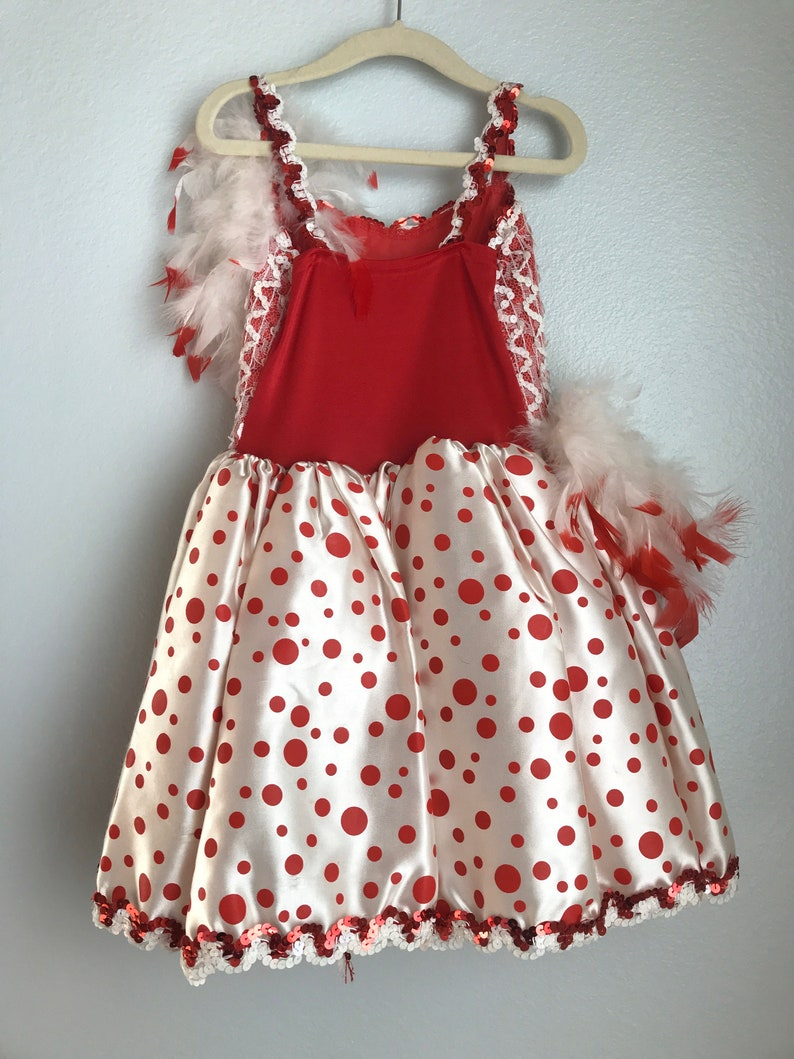 Vintage Toddler Dance Leotard Feathers Sequins Polkadots Red White 5T And Up