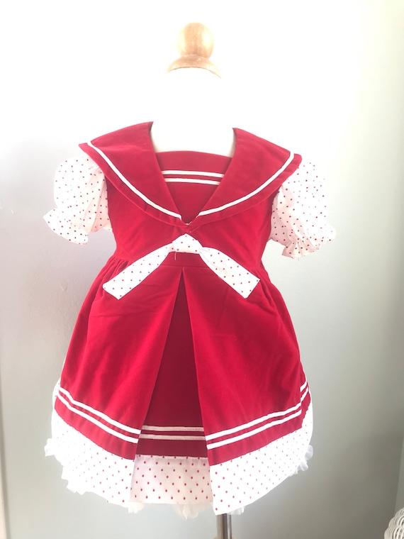 Vintage toddler red sailor dress swiss dot, 2T 18-