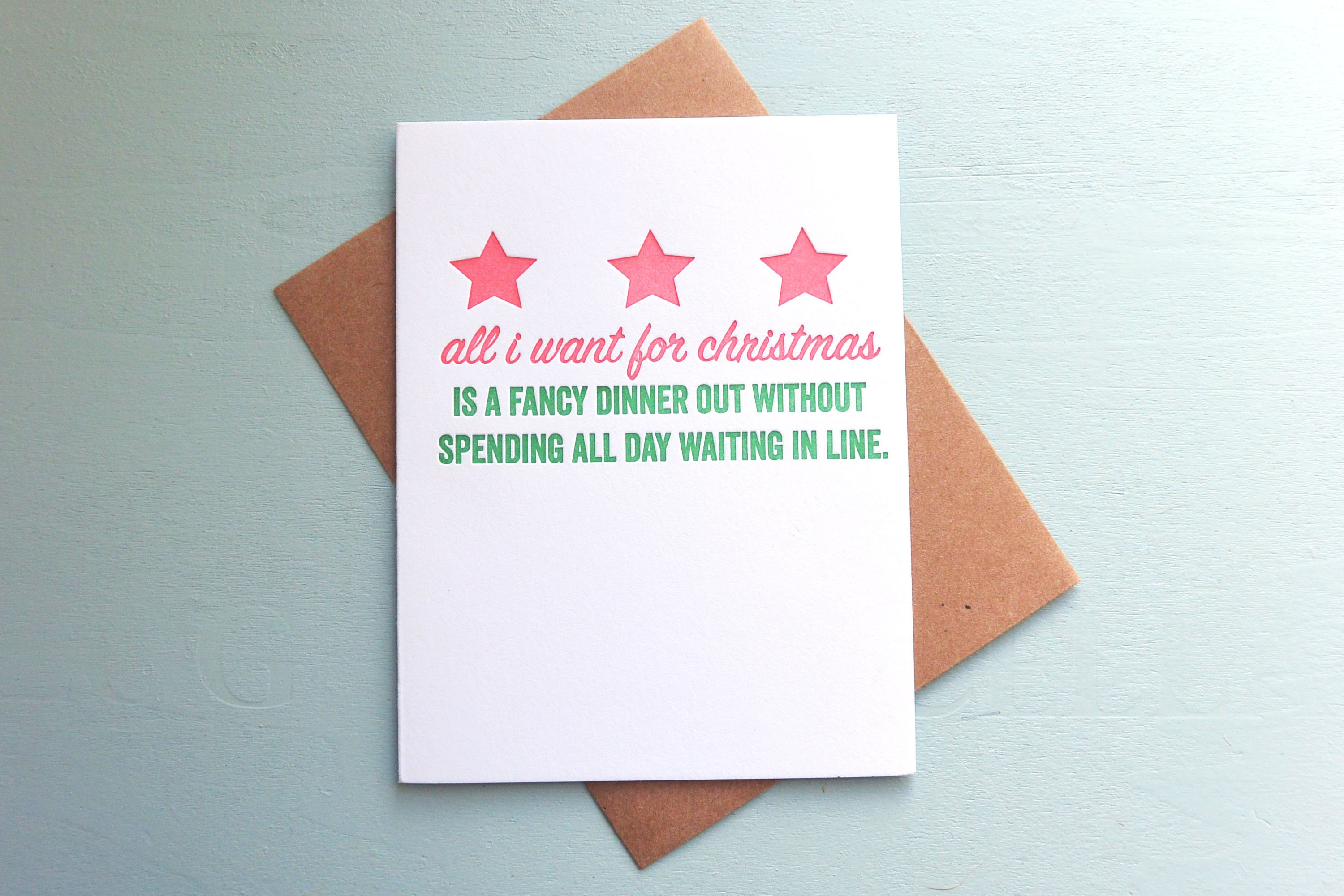 Letterpress Holiday Card All I Want for Christmas is a Fancy