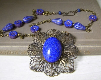 Cobalt Lapis Glass Necklace, Vintage Inspired Filigree Brass Pendant, Blue Czech Glass Flowers, Wire Wrapped