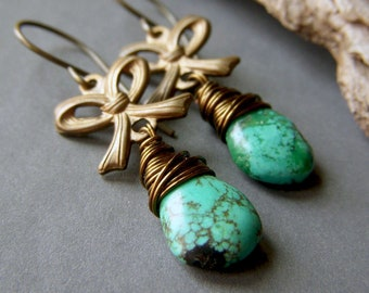 Genuine Turquoise Earrings on Brass, Wire Wrapped Gemstone Briolette Dangle Bow, Brass Wrapped Teardrop