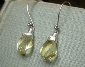 Genuine Lemon Quartz Earrings, Step Cut Gemstone Briolette, Sterling Silver Earrings, Simple Pale Lemon Yellow Earrings Wirewrapped Earrings