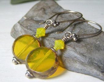 Yellow Opal Glass Earrings, Opalescent Lemon Lime Glass, Czech Glass Dangle Earrings, Coin Shape Sterling Silver Earrings, Handmade Earrings