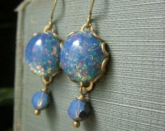Blue Opal Glass Earrings, Brass Dangle Drop Earrings, Swarovski Crystal, Blue Glass Earrings, Foil Cabochon Earrings, Vintage Inspired