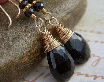 Black Spinel Earrings on Goldfill, Gold Filled Earwire, Wire Wrapped Gemstone Briolette, Teardrop Black Earrings