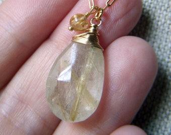Large Rutilated Quartz Necklace, Golden Rutile Gemstone Pendant Necklace, Goldfilled Chain, Wirewrapped Briolette