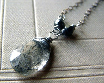 Tourmalinated Quartz Necklace Oxidized Sterling Black Spinel, Gemstone Pendant Necklace, Wirewrapped Rutile Gemstone Briolette