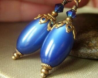 Blue Moonglow Earrings Brass Dangle, Vintage Royal Blue Earrings, Lucite Dangle Luminous Blue Earrings