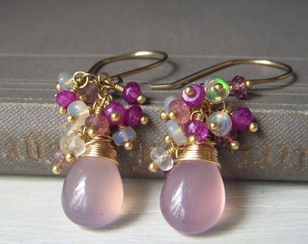 Opulent Lavender Pink Chalcedony Gemstone Cascade Cluster Earrings, Genuine Opal and Rose Quartz Wire Wrapped Gemstone Gold Filled Teardrop