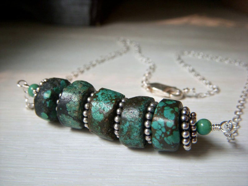 Chunky Tribal Genuine Turquoise Stacked Heishi Gemstone Bar Necklace Rustic Turquoise Real Turquoise Necklace Sterling Silver