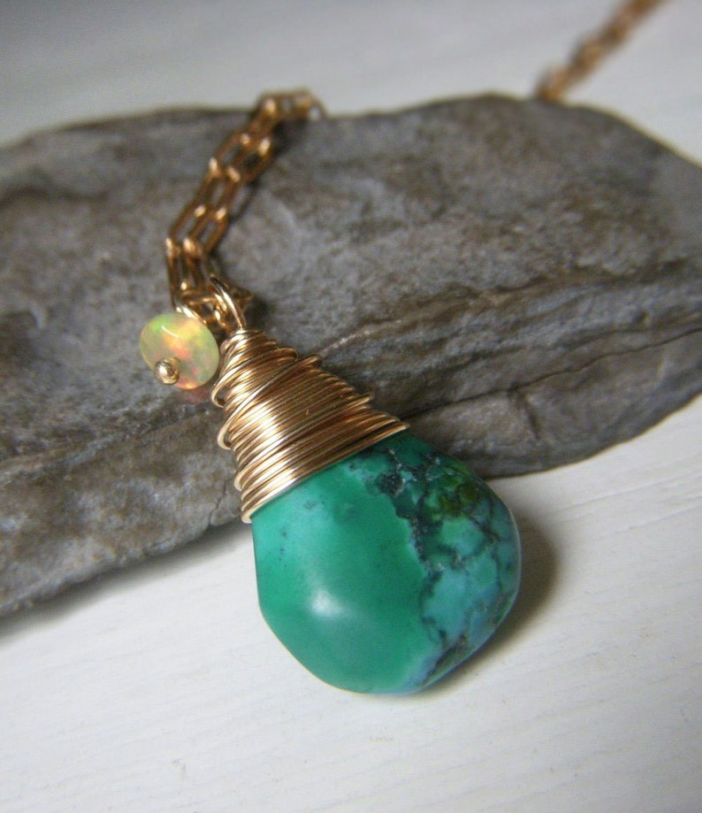 Turquoise Pendant Wirewrapped Briolette Genuine Turquoise Necklace Gold Filled Minimalist Pendant Real Turquoise Welo Opal Accent