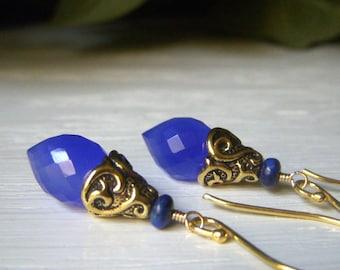 Cobalt Blue Chalcedony Earrings, Briolette Gem, Gold Drop Earrings, Blue Gemstone, Opalescent Dangle Earrings