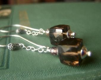 Smoky Quartz Earrings, Sterling Silver, Genuine Smokey Quartz, Gemstone Cube Dangle, Natural Stone Jewelry