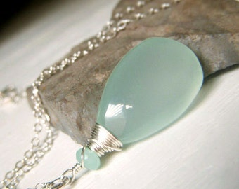 Aqua Chalcedony Briolette Necklace Sterling Silver, Large Wirewrapped Teardrop Gemstone Pendant, Palest Blue Gemstone Necklace