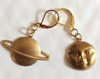 Planet and Full Moon gold tone handmade earrings for pierced ears nickel free