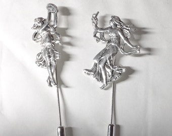 Two dancing ladies stickpins muses art Nouveau style silver plated