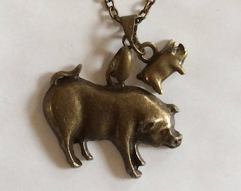 Pig sow and piglet bronze tone pendant and necklace chain 41cm