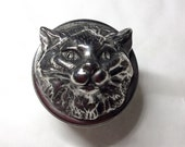Cat pill box Victorian replica Cat head face box , kitten long haired pussy cat, silver plated copper