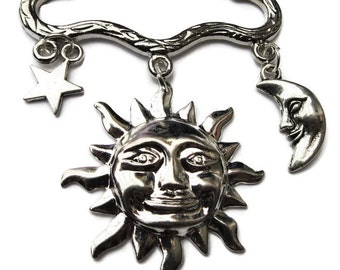 Celestial moon sun star silver  tone brooch / pin