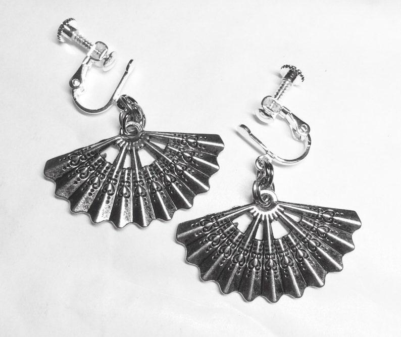 Spanish fan silver tone handmade screw fitting earrings for non pierced ears
