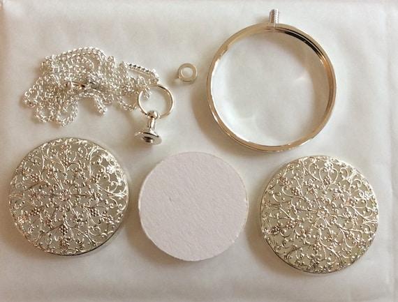 Starburst rococo gilt finish pomander replica fragrance pendant Art Nouveau style silver plated with 20 50cm  silver tone chain