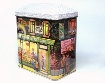 Vintage Silver Crane candy tin Sweet Shop England
