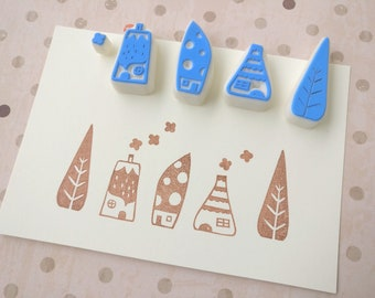 The Enchanted Cottages - Set of 5 Handcarved Stamps