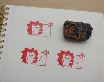 Teacher Hedgehog Grades Papers - Handcarved Rubber Stamp
